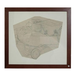 Pencil drawing depicting a WWI Two-Seat Biplane