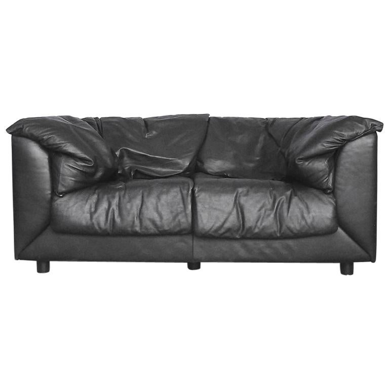 Two Seat Black Leather Swiss Sofa By De Sede 1980s For Sale At 1stdibs