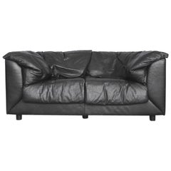 Two-Seat Black Leather Swiss Sofa by De Sede, 1980s