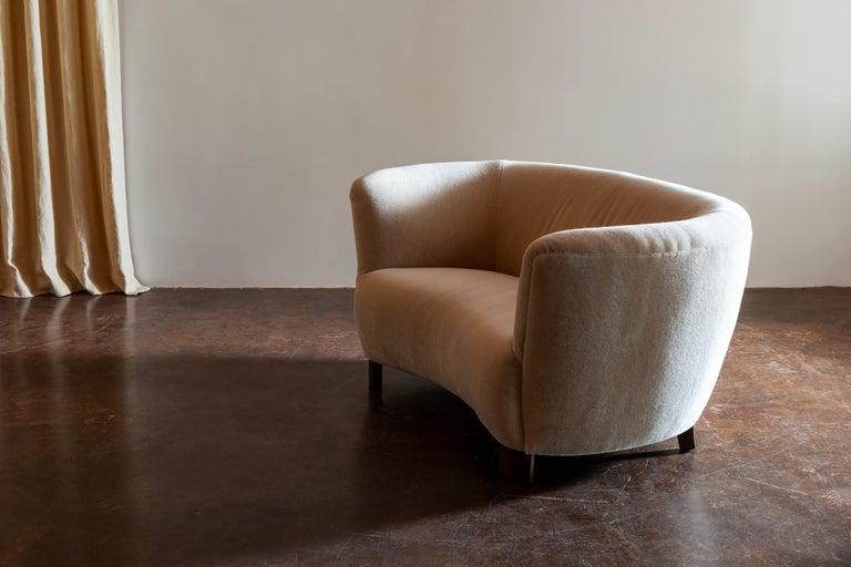 Scandinavian Modern Two-Seat Curved Cabinetmaker Sofa, Denmark, 1940s