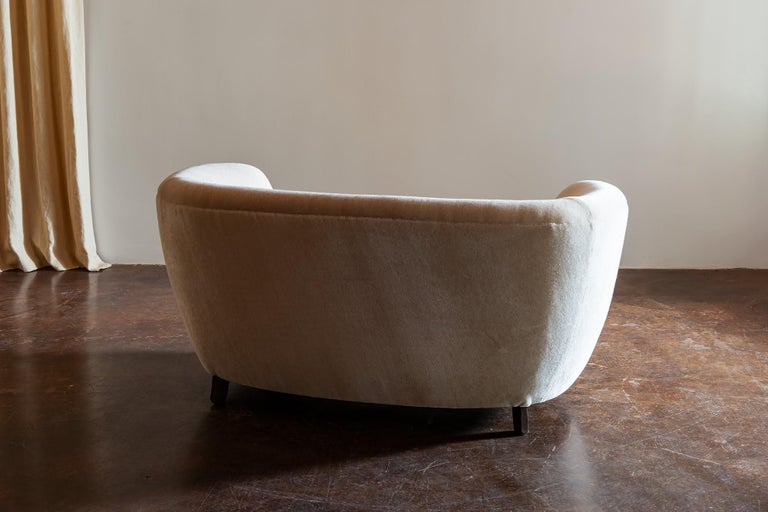 Mid-20th Century Two-Seat Curved Cabinetmaker Sofa, Denmark, 1940s
