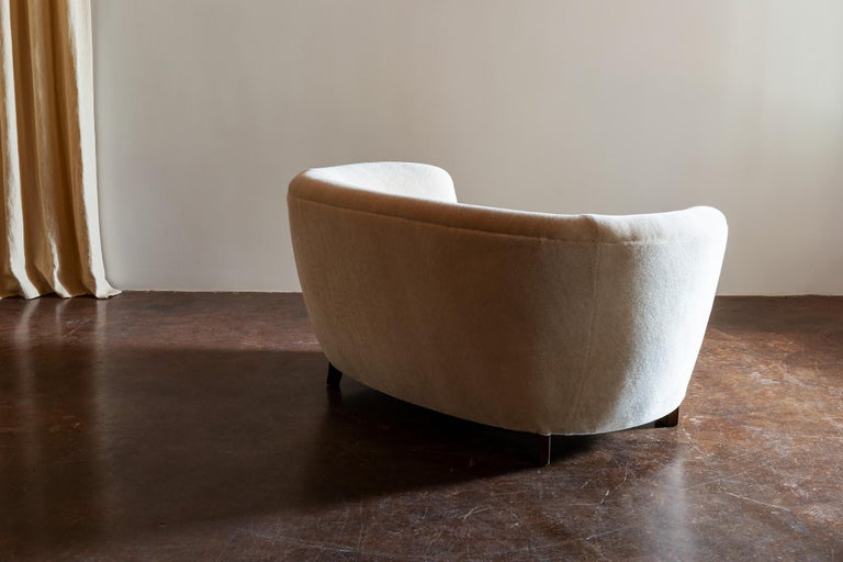 Mohair Two-Seat Curved Cabinetmaker Sofa, Denmark, 1940s