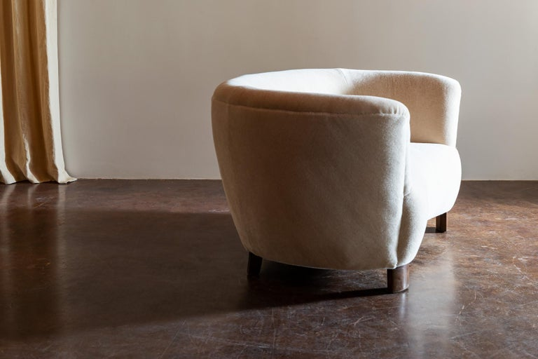 Two-Seat Curved Cabinetmaker Sofa, Denmark, 1940s 1