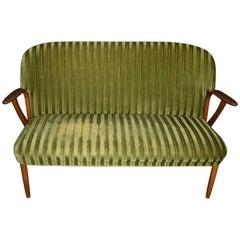 Two-Seat Danish Mid-Century Modern Green Teak Sofa