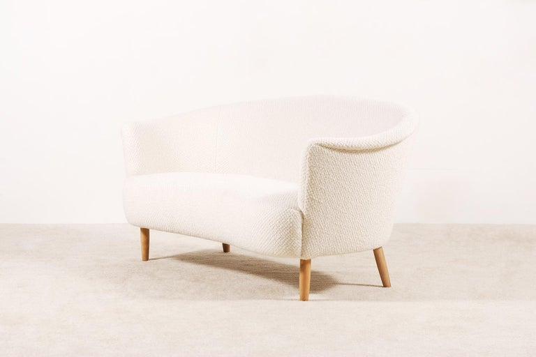 Mid-Century Modern Two-Seat Italian Curved Sofa from 1950s For Sale