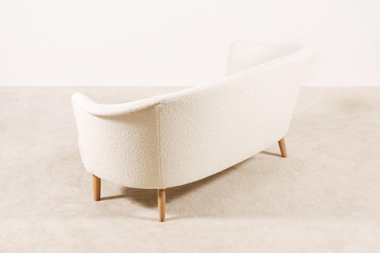 Fabric Two-Seat Italian Curved Sofa from 1950s For Sale
