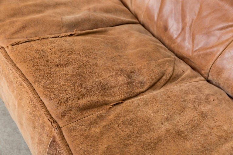 Two-Seat Natural Leather Sofa Designed by Gerard van den Berg for Montis, 1970 For Sale 4