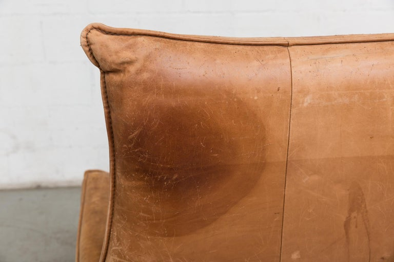 Two-Seat Natural Leather Sofa Designed by Gerard van den Berg for Montis, 1970 For Sale 7