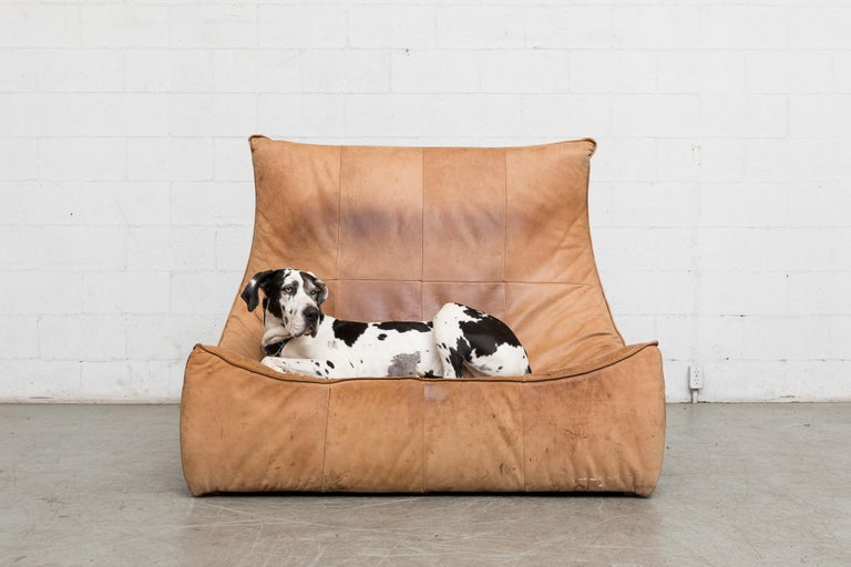 Mid-Century Modern Two-Seat Natural Leather Sofa Designed by Gerard van den Berg for Montis, 1970 For Sale