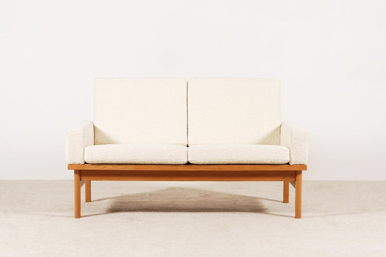 Scandinavian Modern Two-Seat Poul Volther Sofa with Bouclette Fabric, 1960s For Sale