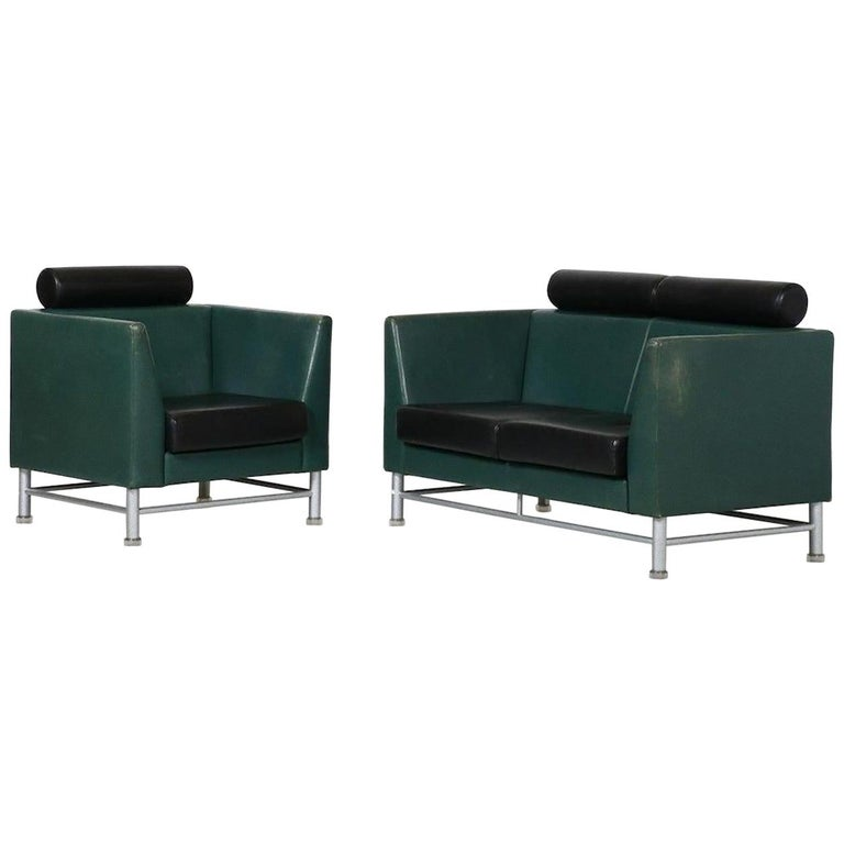 Two-Seat Sofa and Armchair, Ettore Sottsass, 1990s For Sale
