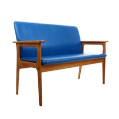 Two-Seat Sofa by Erik Buch 1970s Oil-Treated Oak Couch with Clear Blue Upholster