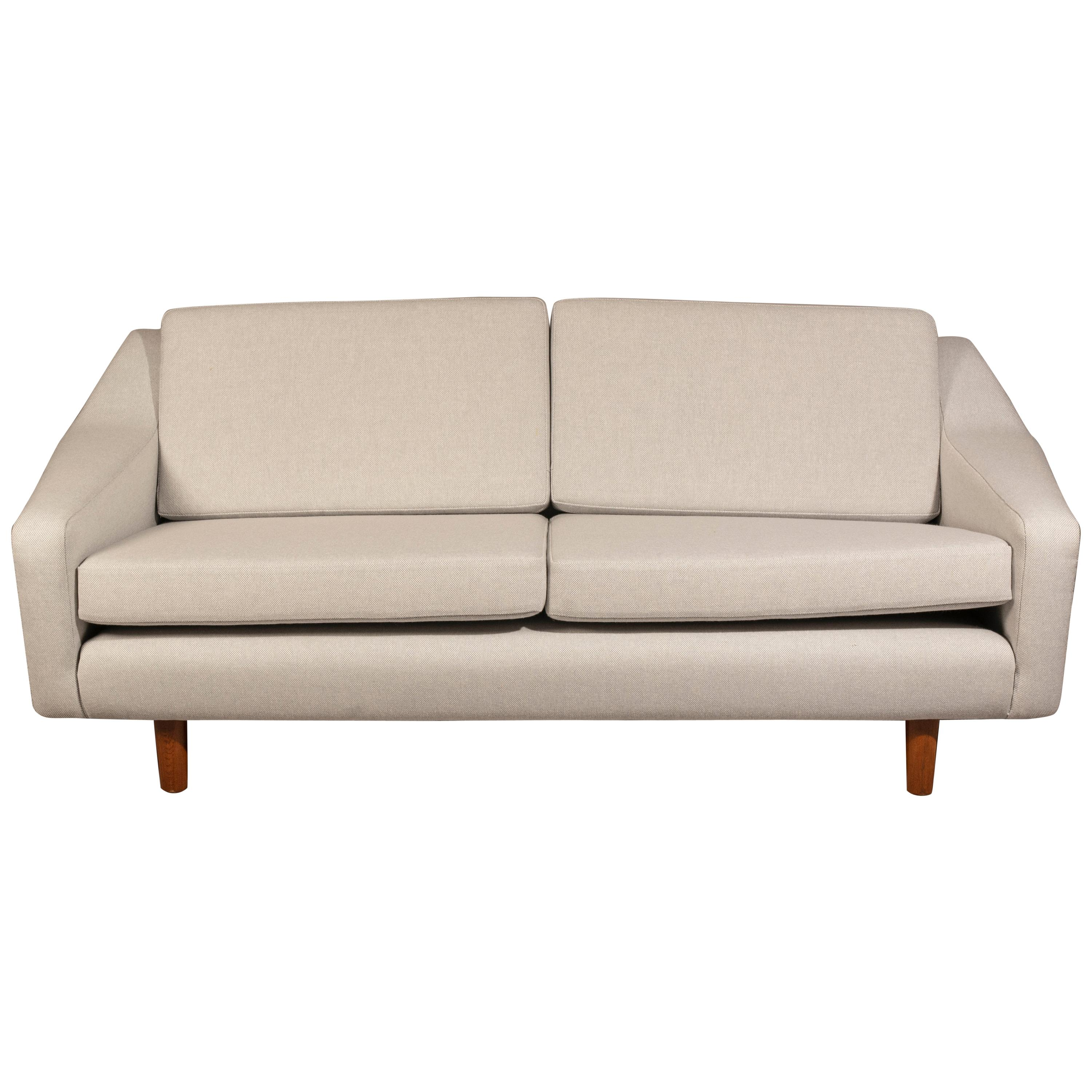 Two-Seat Sofa, Denmark 1960s, Reupholstered in Kvadrat Fabric