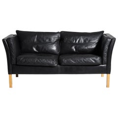 Two-Seat Sofa in Black Leather, Danish Architect, circa 1970