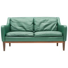Two-Seat Sofa in Green Leather, Italy, 1958