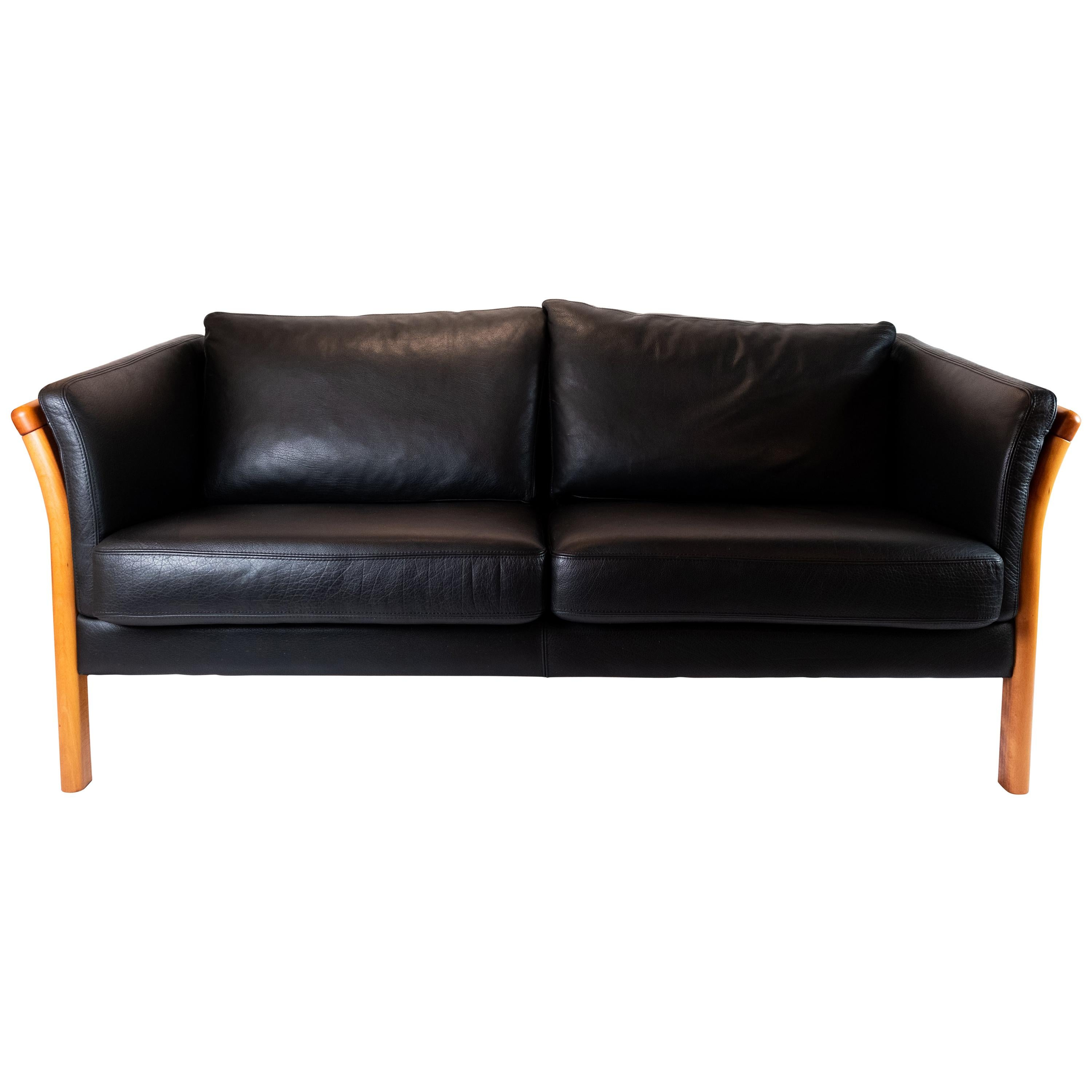 Two-Seat Sofa Upholstered with Black Leather and of Danish Design