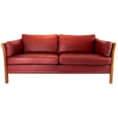 Two-Seat Sofa Upholstered with Indian Red Leather of Danish Design, 1960s
