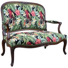 Two-Seater Bench with Caribbean Style Fabric, Austria, circa 1890
