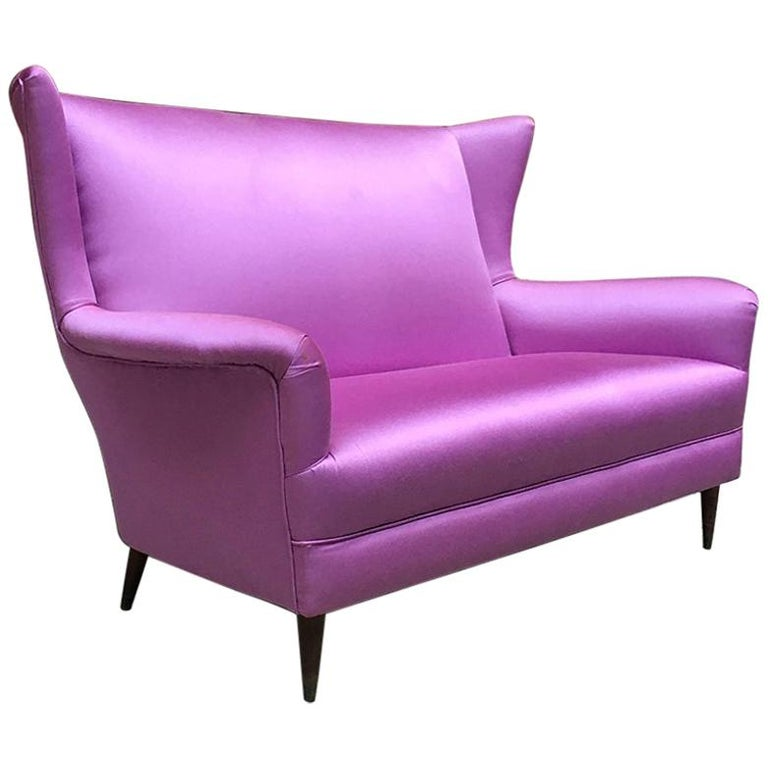 Italian two-seat pink silk sofa with armrests, 1950s For Sale