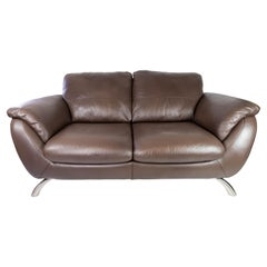 Two Seater Sofa Upholstered with Brown Leather and Frame of Metal, by Italsofa