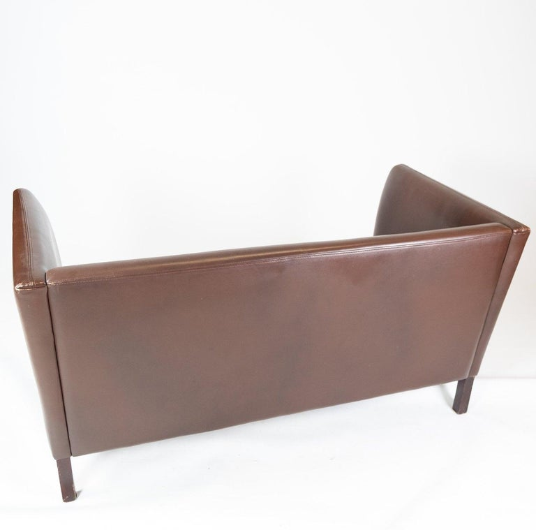 Two Seater Sofa Upholstered with Dark Brown Leather of Danish Design, 1960s For Sale 3