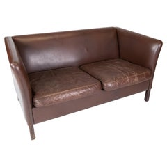 Two Seater Sofa Upholstered with Dark Brown Leather of Danish Design, 1960s