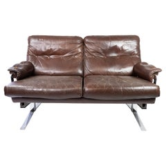 Two Seater Sofa Upholstered with Patinated Brown Leather, by Arne Norell, 1970s