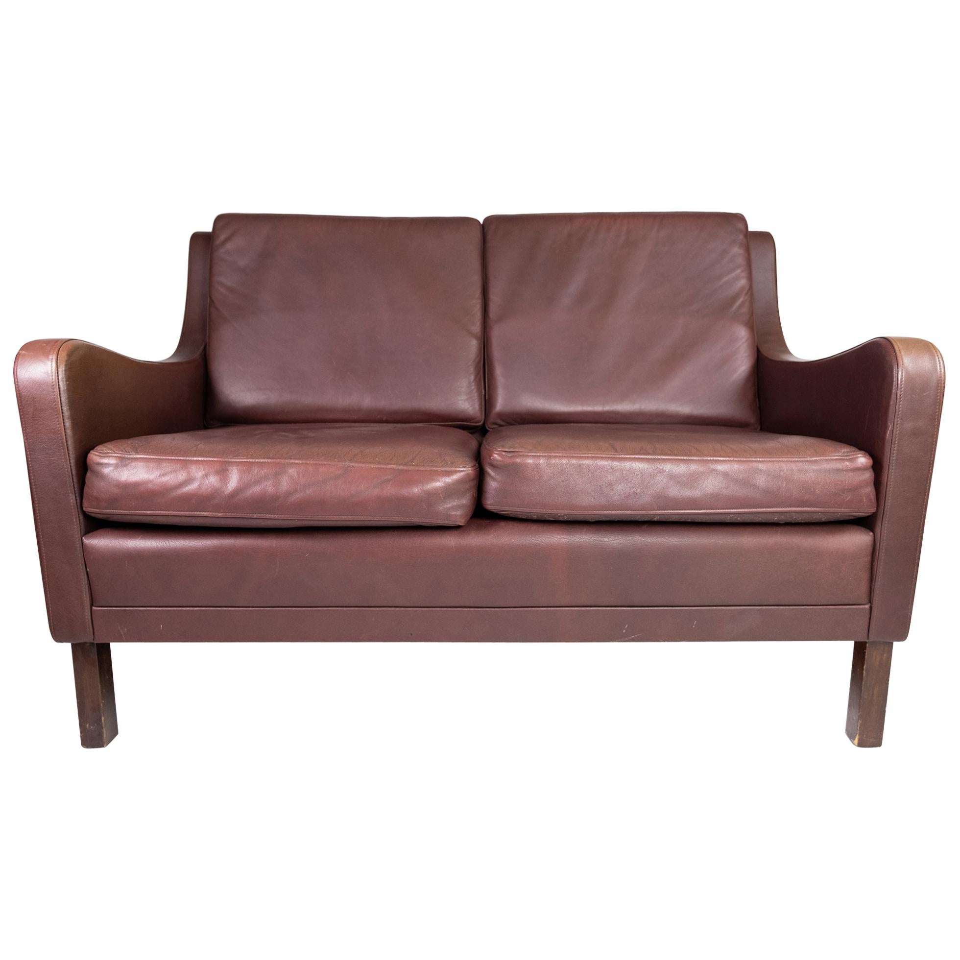 Two-Seat Sofa, with Red Brown Leather by Stouby Furniture