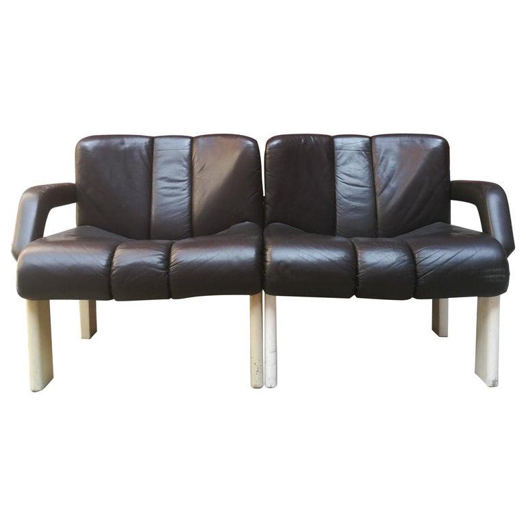 Two Seat Leather Modular Sofa 1980s