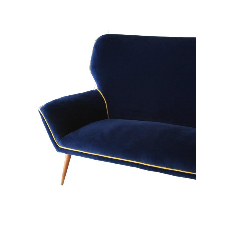 Mid-20th Century Two-Seat Sofa Upholstered in Velvet with Conic Legs. Italy, 1950. For Sale
