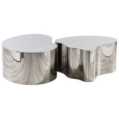 Two Sectioned Freeformed Stainless Steel Coffee Table, by Silas Seandel