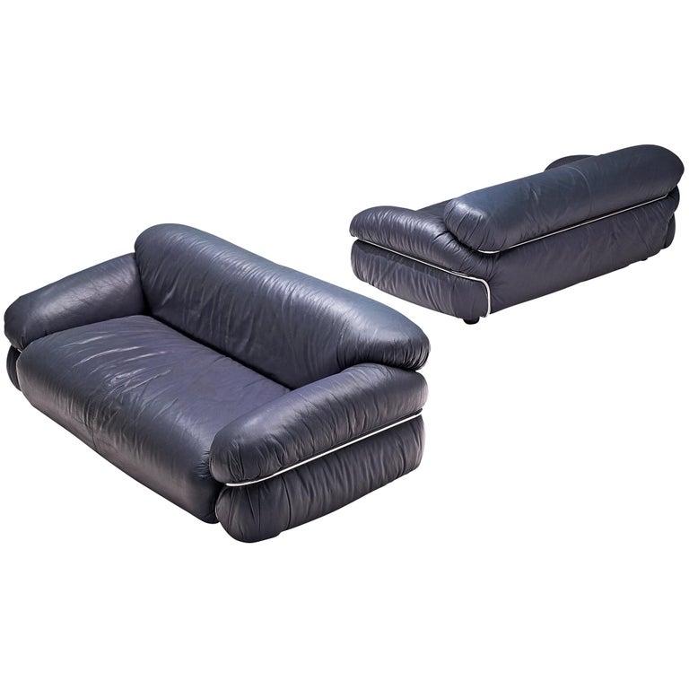 Sesann Sofas In Night Blue Leatherette