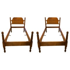 Two Sets of Antique Four Poster Twin Beds by Leonards Sackonk, MA