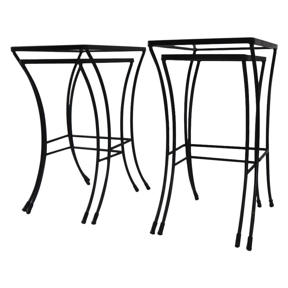 Two Sets of Mid Century Wrought Iron Nesting Tables