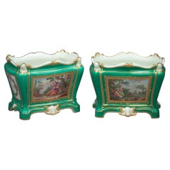 Two Sevres Green Ground Flower Vases, Dated 1764 and 1765