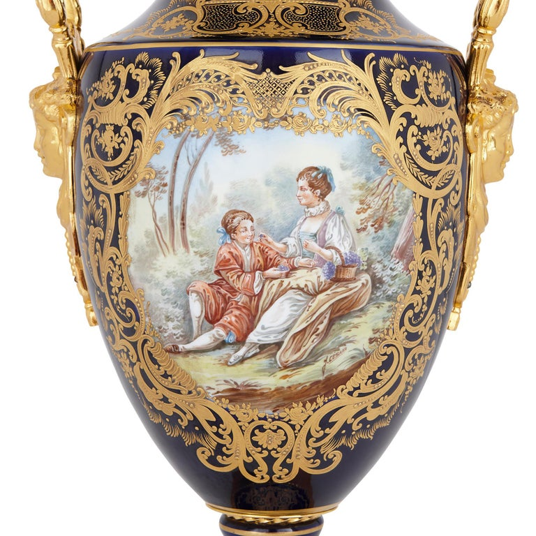 19th Century Two Sèvres Style Porcelain and Gilt Bronze Vases For Sale