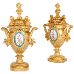 Two Sèvres Style Porcelain Mounted Gilt Bronze Vases by Mourey
