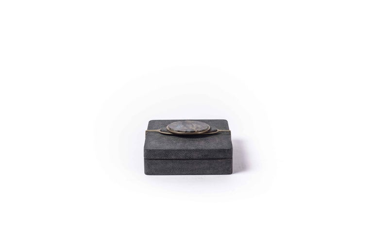 Two Shagreen Boxes with a Semi Precious Knob and Brass Details by Kifu Paris For Sale 1