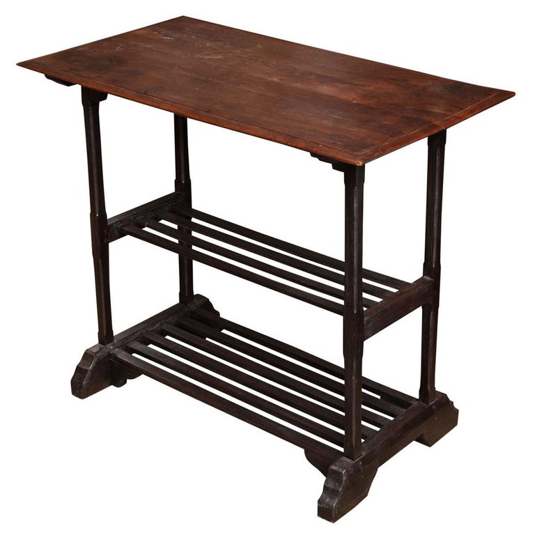Two Shelf Wood Utility Table From Thailand For Sale At 1stdibs