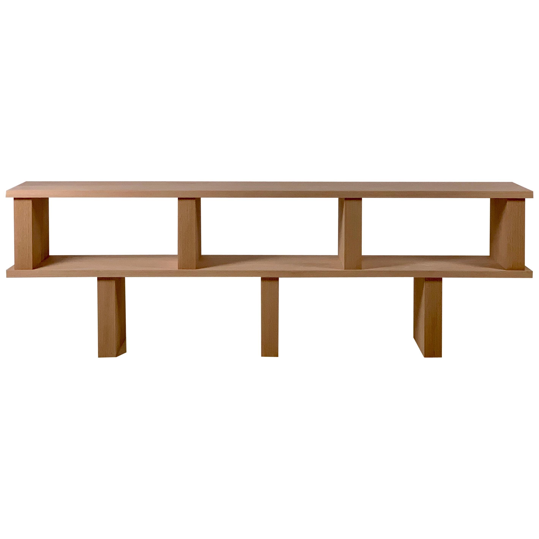 Two Shelves 'Verticale' Polished Oak Shelving Unit