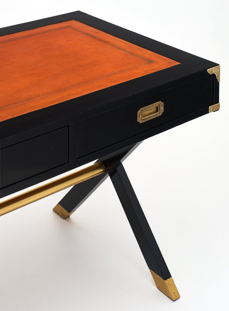 Two-Sided Antique Campaign Desk at 1stdibs