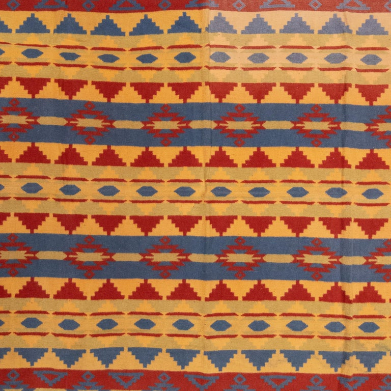 Two sided cotton beacon blanket with geometric designs. Good condition, slight fade one corner not distracting.  Period: circa 1920 Origin: Beacon Size: 64