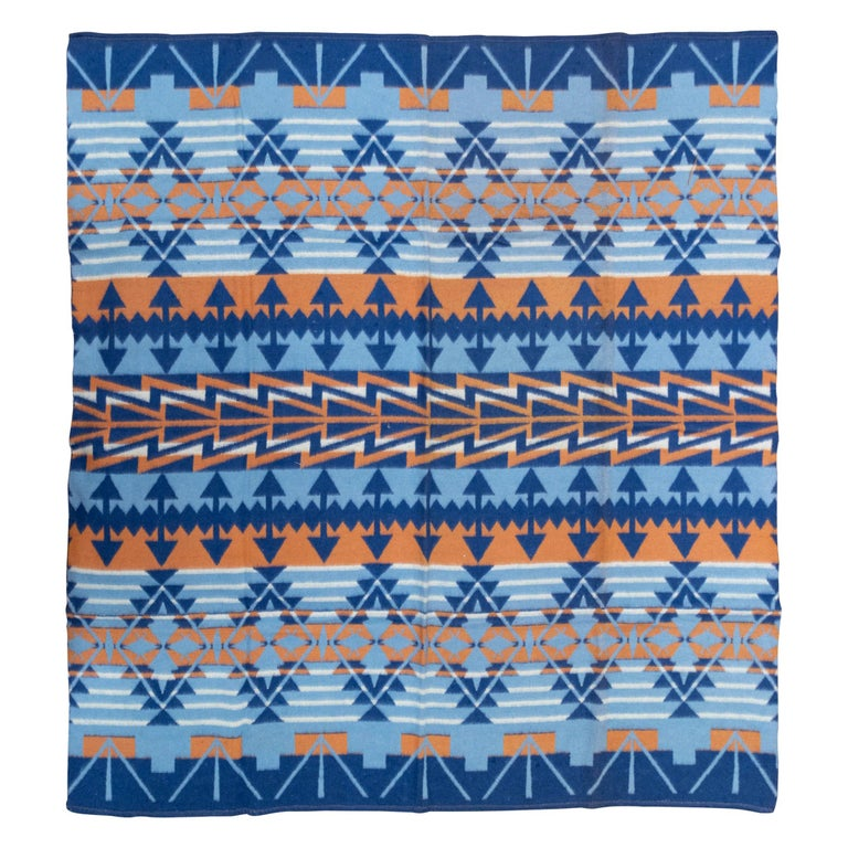 Two-Sided Cotton Beacon Blanket, circa 1920 For Sale