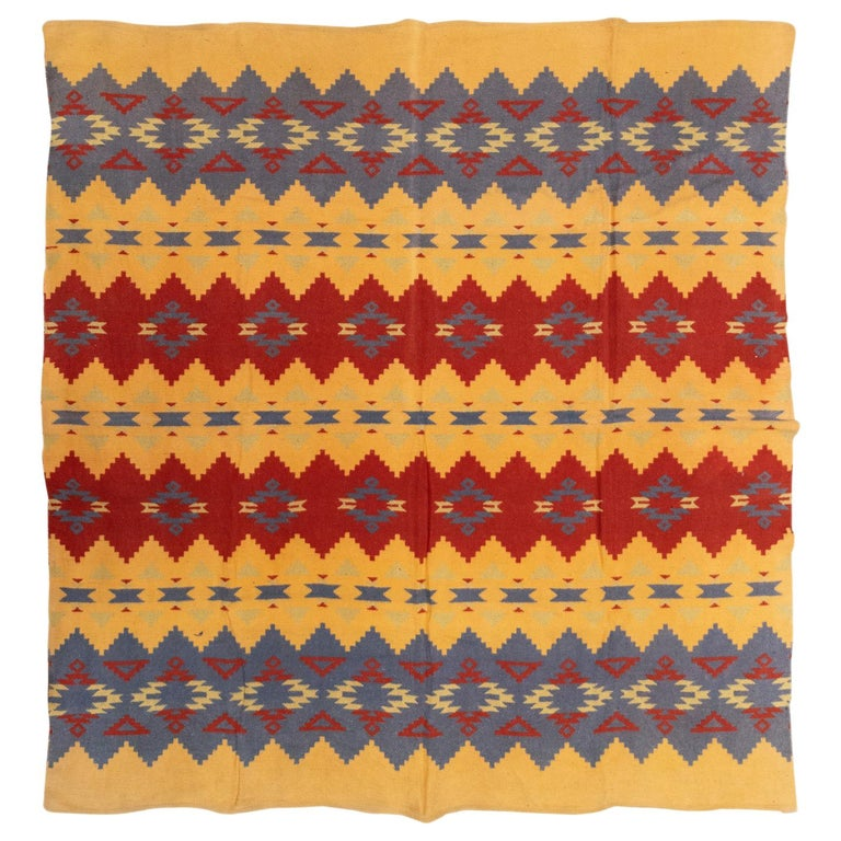 Two Sided Cotton Beacon Blanket, circa 1920 For Sale