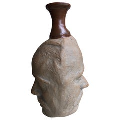 Two Sided Face Studio Pottery Vessel, 1984