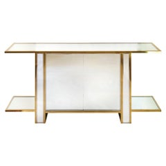 Two Sided Mirrored Brass, Chrome and Glass Console Vitrine