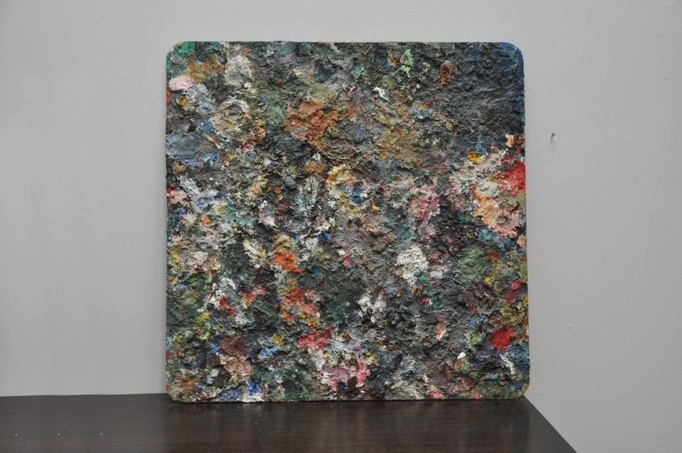 Oil on plexiglass. This 2-sided painter's pallette is an amazing addition to any collection providing a choice of two looks.