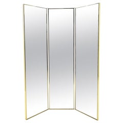 Two Sided Three-Panel Folding Dressing Mirror, Brass Frame and Detail