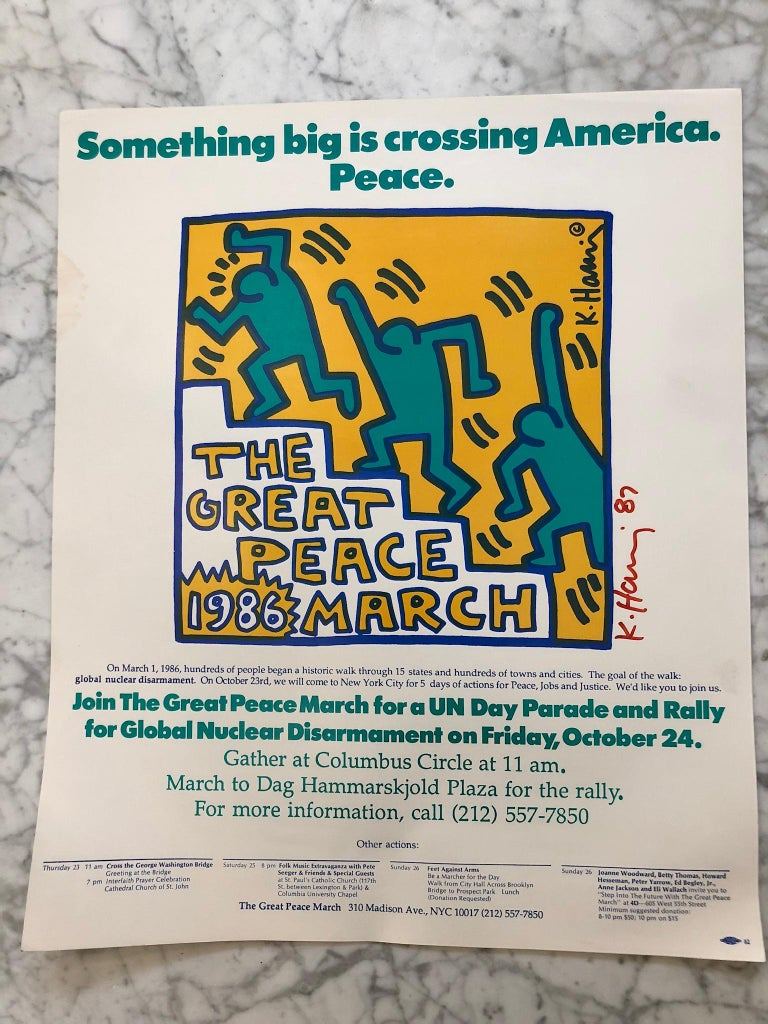 Two Signed Keith Haring Posters In Good Condition For Sale In Hudson, NY