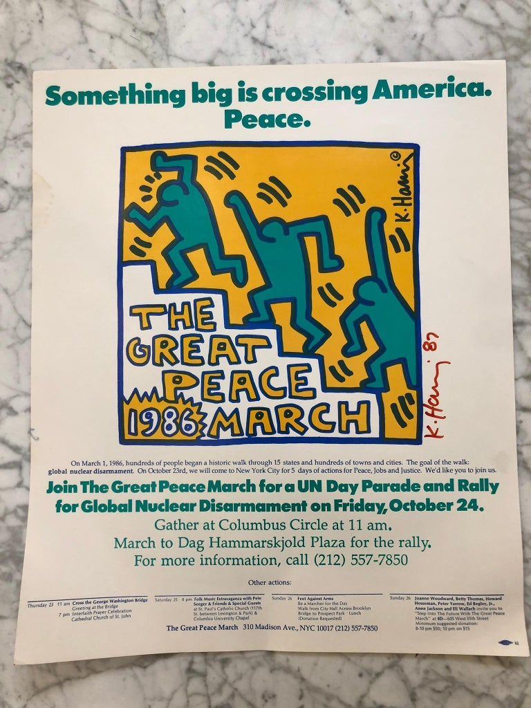Paper Two Signed Keith Haring Posters For Sale